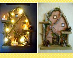 Custom Handmade LIGHT UP Medium Driftwood Fairy House Home Wall Decor