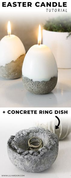 DIY Concrete Easter Candle How cool are these Easter Candles that transform into a ring dish once the candle is burnt out. They are easy to make and require dollar store materials. Best Candles, Diy Candles, Scented Candles, Natural Candles, Homemade Candles, Beeswax Candles, Candle Rings, Candle Jars, Candle Maker