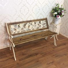 Shabby chic garden bench vintage Wrought iron French chateau White painted oak in Home, Furniture & DIY, Furniture, Benches | eBay