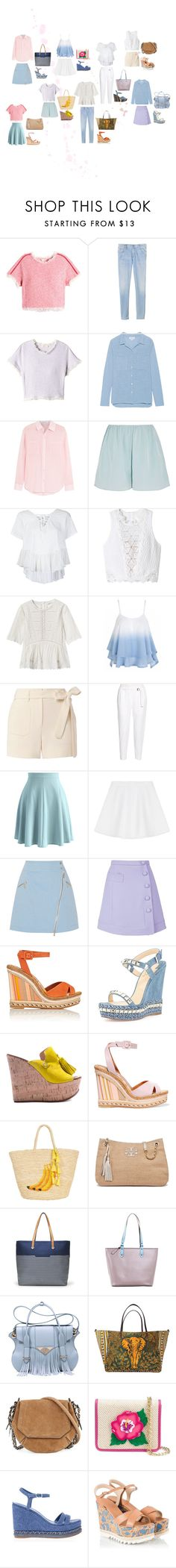 """""""summer beach"""" by yusufbudiman on Polyvore featuring Rebecca Taylor, Velvet by Graham & Spencer, Elizabeth and James, Helmut Lang, Chicwish, RED Valentino, Karl Lagerfeld, Carven, Valentino and Christian Louboutin"""
