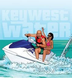 Couple on a jet ski in Key West having fun