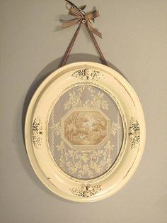 Vintage Oval Frame of Toile Scene by LulaBelle143 on Etsy, $39.00