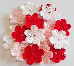 Crochet Flowers for applications   Set of 18 Pieces Crochet Pink Red White  Flowers 6 petals   Crochet Scrapbooking Crochet Applique 6c1bf126062