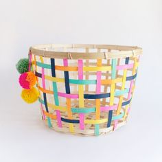 Make this fun and colorful storage basket, because things should be stored in style.