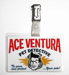 Ace Ventura Pet Detective ID Badge Cosplay Props Costume Fancy Dress