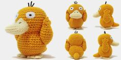 """A 6"""" tall Psyduck amigurumi. The pattern is available on Ravelry and on Etsy . If you have any questions, feel free to email me at icr..."""