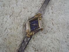 Ladies CLAREMONT Silvertone Goldtone Blue Face Watch (C49)