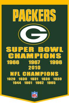 green bay photos | Green Bay Packers Championships Wool Banner 24 x 36