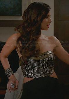 Carmen's studded jumpsuit with side cutouts on Devious Maids.  Outfit Details: http://wornontv.net/31048/ #DeviousMaids