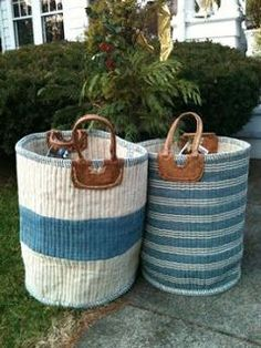 This would be great in my pool bath! ⚓Nest by Tamara: blue basket from Mecox Gardens Basket Bag, Tall Basket, Rope Crafts, Cottages By The Sea, My Pool, Storage Baskets, Laundry Baskets, Toy Storage, Sisal
