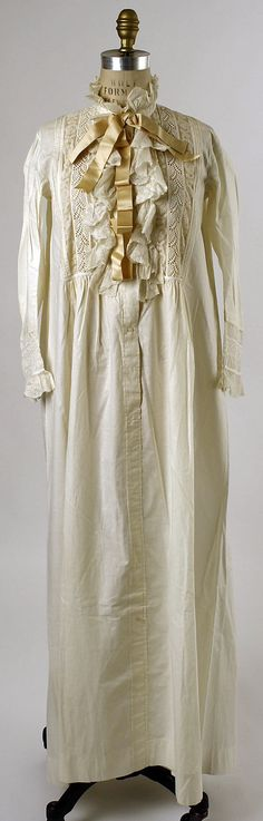 1886 Woman's Nightgown American, cotton, cream with lace and white work down front, silk neck tie.  Credit Line: Gift of Mrs. Lillie A. Martin, 1940 metmuseum.org