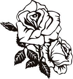 画像サンプル-切り絵風のバラ・白黒