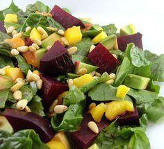 Roasted beet, mango avocado & spinach salad. Yum!! So healthy too...