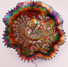 Northwood Blue Peacocks Carnival Glass Ruffled Bowl