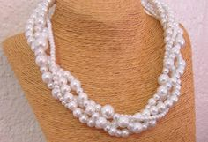 Ivory Pearl Statement Necklace Bridal Pearl Necklace 4