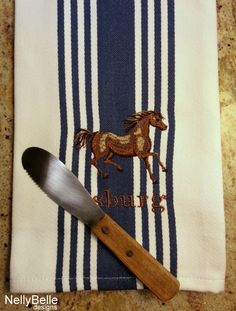 Horsing around. Personalized kitchen towel for horse lovers. NellyBelle Designs