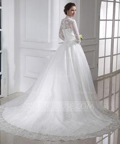 Ball-Gown High Neck Chapel Train Organza Wedding Dress With Ruffle Lace Beadwork ~ <3<3<3