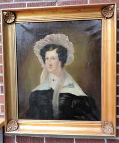 Antique 19C VICTORIAN Large Oil Portrait WOMAN Pale PINK BONNET Heavy Gold FRAME #Realism #unknown