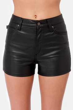 Like we really need to tell you why the Tripp NYC High Waist Black Vegan Leather Shorts are so cool. High-waisted vegan leather shorts with gunmetal skull grommets. Leather Shorts Outfit, Black Leather Shorts, Black High Waisted Shorts, Leather Pants, Festival Outfits, Short Outfits, Vegan Leather, My Style, Retail Therapy