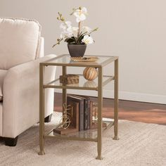 Harper Blvd Matte Gold Metal/ Glass Side/ End Table ($105) ❤ liked on Polyvore featuring home, furniture, tables, accent tables, clear, glass shelving, metal shelving, glass top side table, glass metal table and glass end tables