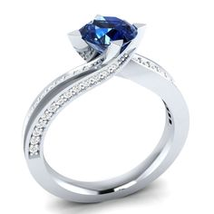 1.10 ct Real Solitaire Blue Sapphire & Diamond 14K White Gold Engagement Ring #DemiraJewels #SolitairewithAccents #Wedding