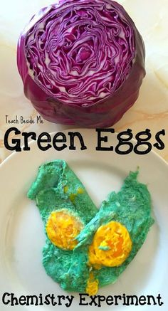 Green Eggs Chemistry Experiment- No Food Dye Needed great experiment for Dr. Seuss& Birthday or Easter time! Green Eggs Chemistry Experiment- No Food Dye Needed great experiment for Dr. Seuss Birthday or Easter time! Science Activities For Kids, Stem Science, Preschool Science, Science Fair, Teaching Science, Stem Activities, Science Projects, Science Party, Food Science