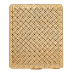 Woven Gold Cigarette Case   14 kt., the rectangular-shaped woven gold case, the inside engraved Love You Darling Always, Clarkson Earl Jr., approximately 89.8 dwts. 3 7/8 x 3 3/16 x 3/16 inches.