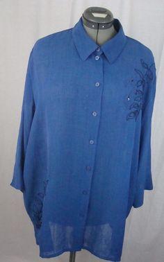 Allison Daley Women's Blouse Plus Size 24W Blue with Floral Designs Polyester #AllisonDaley #Blouse #YourChoice