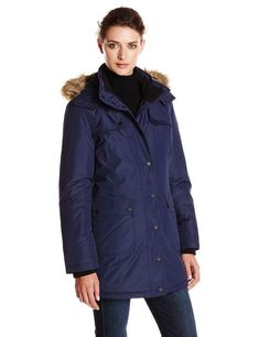 27ba13452404a Women s Utility Parka  Coat featuring detachable hood with faux fur trim  and full-length zipper with snap placket cover Gun flaps at shoulders  Snap-flap ...
