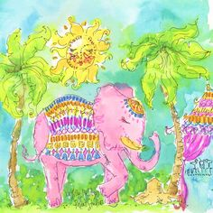 Uptown Funk or Uptown Trunk? Lilly Pulitzer Prints, Lily Pulitzer, Watercolor Animals, Watercolor Print, Lilly Pulitzer Iphone Wallpaper, Palm Beach Decor, Love Lily, Elephant Design, Doodle Art
