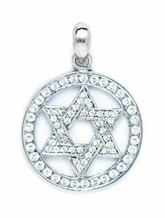 14k White Gold CZ Star Of David In Circle Pendant - Measures 27x20mm - 27 Inch - JewelryWeb JewelryWeb. $282.50. Save 50% Off!