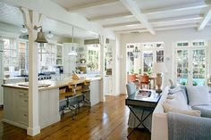 Kitchen Living Room love this kitchen - open and bright! - Steve and Brooke Giannetti are selling their romantic shingle-style home in Santa Monica. Design Case, Küchen Design, Home Design, Bell Design, Design Ideas, Kitchen Family Rooms, Living Room Kitchen, Dining Room, Comedor Shabby Chic