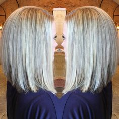 "16 Likes, 1 Comments - @amandalindler on Instagram: ""Icy blonde balayage highlights with a long inverted bob. #blondeme #framarint #hairartist…"""