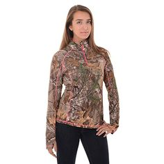 4aa9b346 Realtree Women's Zip Performance Shirt, Large, Realtree Xtra Authentic Realtree  camo print Wicks moisture away Contrast stitching and zipper provides a  fun, ...