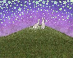 """""""+bunnies+on+a+hill""""+by+Sarah+Knight,+Tecumseh+//+2+fluffy+white+bunnies+sit+on+a+green+grassy+hill+in+front+of+a+dusky+sky+filled+with+stars.+It's+a+sweet+and+whimsical+illustration+that+combines+my+drawings+with+my+paintings.+The+sky+and+stars+are+based+on+a+scan+of+watercolor+with+salt+(which+creates+a+batik+effect).+I...+//+Imagekind.com+--+Buy+stunning+fine+art+prints,+framed+prints+and+canvas+prints+directly+from+independent+working+artists+and+photographers."""