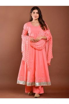 Specifically designed for a stylish lady like you is this blush pink chanderi cotton anarkali suit which will surely tell them that the diamonds aren't the only beautiful thing which they have seen. This round neck and 3/4th sleeve suit is plain. Available with chanderi cotton palazzo pant in blush pink color with blush pink chiffon dupatta. Palazzo pant has plain. #anarkalisuit #usa #Indianwear #Indiandresses #andaazfashion