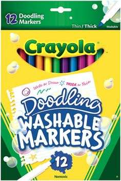 Crayola Washable Markers, Broad Line, 8 Ct. - CRAYOLA-Broad Line Washable Markers in: brown; blue and black. These 8 classic colors are the World's Most Washable Markers. Non-toxic. Conforms to ASTM D Made in USA. Tropical Colors, Bold Colors, Marker Art, Printable Coupons, Markers, Arts And Crafts, Doodles, Cleaning, Crayons