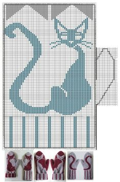 chart for cat pattern on mittens Knitting Charts, Knitting Stitches, Baby Knitting, Knitting Patterns, Knitted Mittens Pattern, Knit Mittens, Knitted Gloves, Kitten Mittens, Cardigan Pattern