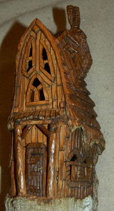 Cottonwood Bark - posted front porch - carved by Norm Minske