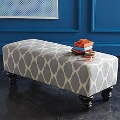 Westelm Essex bench in Ikat Ottoman Bench, Bed Bench, Upholstered Bench, Diy Ottoman, Ikat Fabric, Chair Fabric, Ikat Print, Modern Furniture, Home Furniture