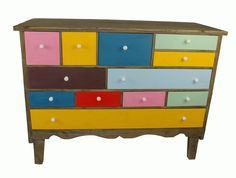 Multicoloured Wooden Chest of Drawers Retro Shabby Chic Sideboard 95 x 40 x 70cm