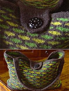 FREE Felted Weekend Tote pattern - interesting use of a 2-color pattern stitch