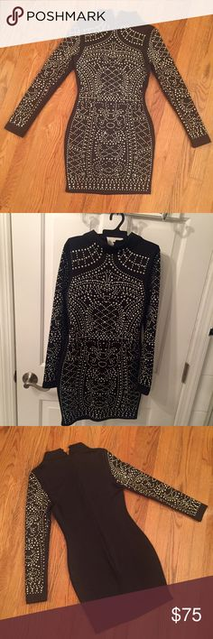black studded long sleeved dress gorgeous black studded long sleeved dress ! only worn once ! (shown in picture above) size small ✨ I'm 5'5 hope that helps with sizing. Dresses Mini