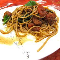 Cozinhar sem Lactose: Esparguete com camarões, chouriço e harissa