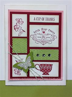 """Stampin' Up! Card  by Pam Strobel at Stamp and Stretch: SU """"TEA SHOPPE"""""""