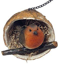 Figura ornamental Petirrojo en un alimentador colgante