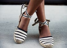 Espadrilles are a comfy and cute shoe for summer! Go nautical with stripes or opt for a solid color for everyday wear. The tie-up detail also adds a little flair to your look.