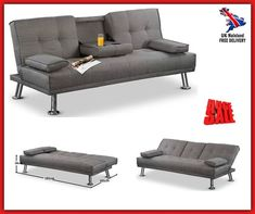 Futon Double Sofa Bed Metal Grey 3 Seater Couch Guest Bed Folding Tray Furniture