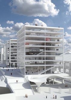 Siège du groupe Le Monde, Paris • HARDEL LE BIHAN ARCHITECTES Section Drawing Architecture, Conceptual Model Architecture, Concept Architecture, Futuristic Architecture, Healthcare Architecture, Office Building Architecture, Building Facade, Facade Architecture, Parking Building