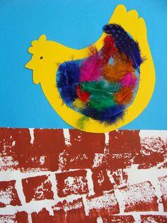Une poule sur un mur. Projects For Kids, Diy For Kids, Art Projects, Crafts For Kids, Farm Crafts, Easter Crafts, Puppet Crafts, Kindergarten Crafts, Farm Theme